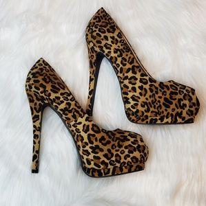 Womens Charlotte Russe Leopard Peep Toe Heels